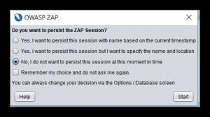 OWASP ZAP start-up dialog