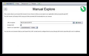 ZAP Manual Explore window