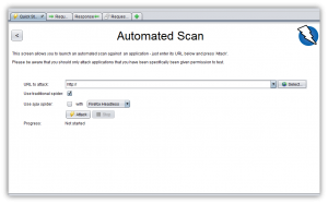 ZAP Automated Scan window