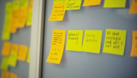 Post-it notes used to define the process for automation